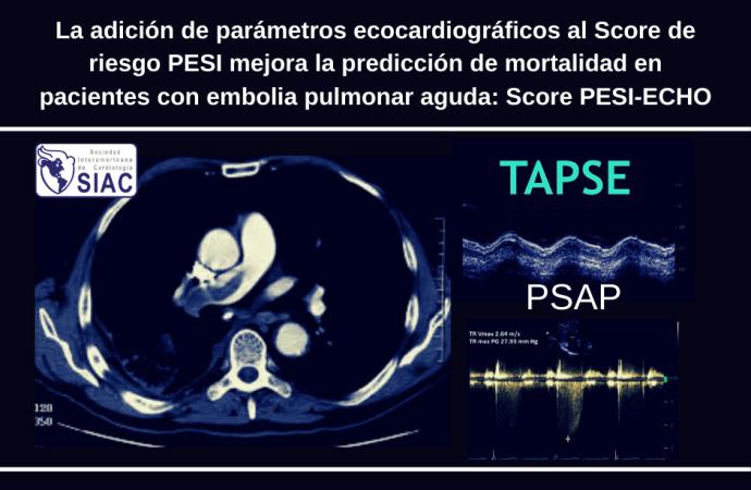 La adición de parámetros ecocardiográficos al Score de riesgo PESI mejora la predicción de mortalidad en pacientes con embolia pulmonar aguda: Score PESI-ECHO